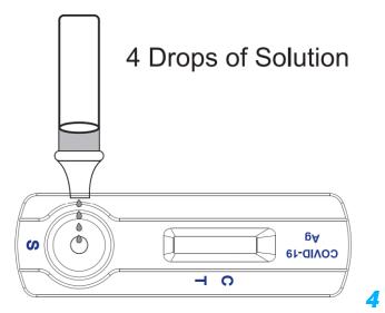 stap4 testvloeistof aanbrengen op corona snel test cassette